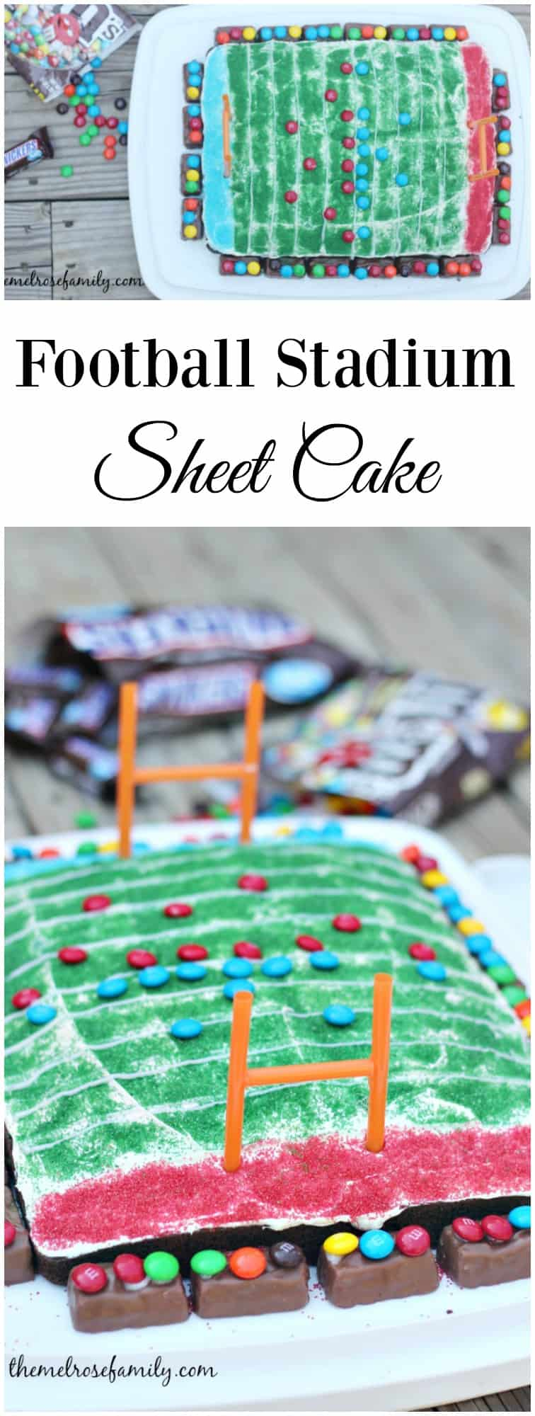 Are you ready for game day? You don't want to forget about dessert and this Football Stadium Sheet Cake is perfect!