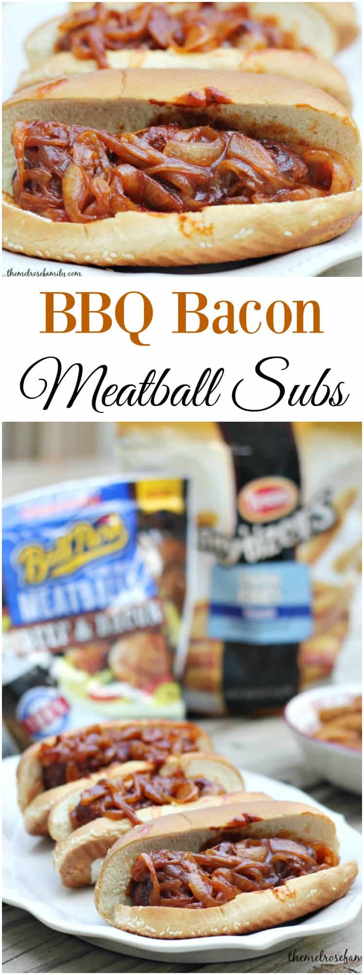 Looking for an easy and flavorful game day recipe? Try these BBQ Bacon Meatball Subs for a crowd or in a pinch.