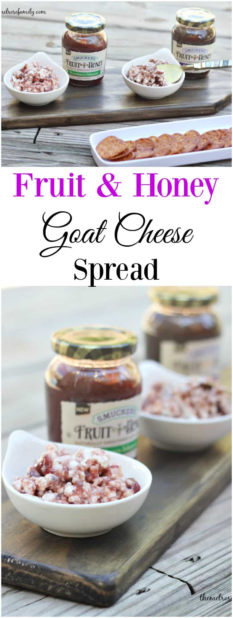 In need of a flavorful and easy appetizer to impress your guests? This Fruit & Honey Goat Cheese Spread comes together quickly and taste amazing!