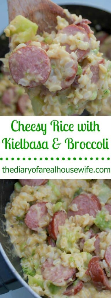 In need of a super easy dinner idea? This Cheesy Rice with Kielbasa & Broccoli is a family favorite!