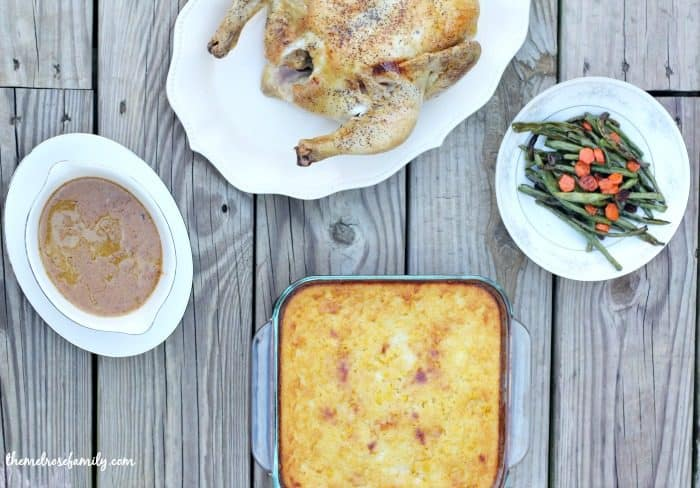lightened-up-jiffy-corn-casserole-with-roast-chicken-gravy-and-roasted-green-beans-and-carrots