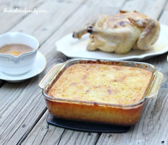 Lightened up corn casserole with turkey and gravy