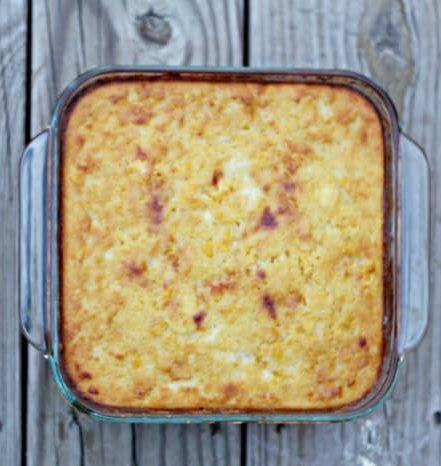 Jiffy Corn Casserole in a baking tray
