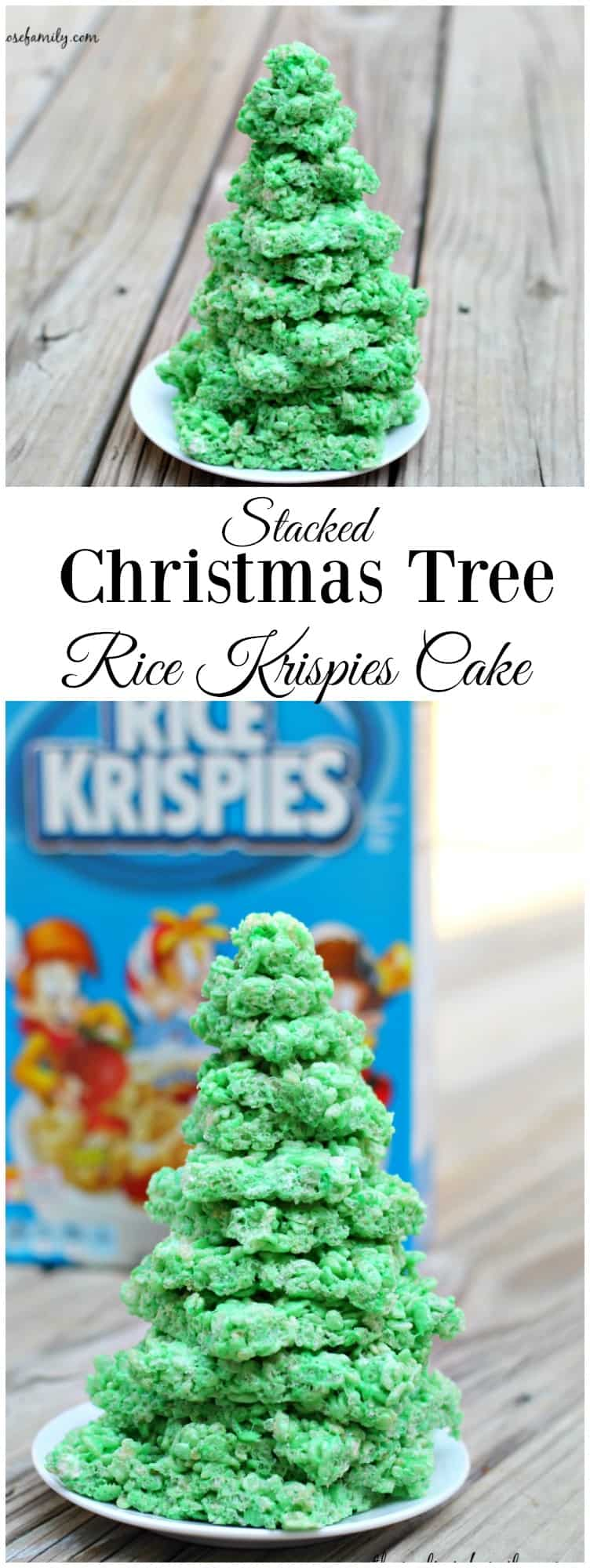Stacked Christmas Tree Rice Krispies Cake #christmasdessert #dessert #themelrosefamily