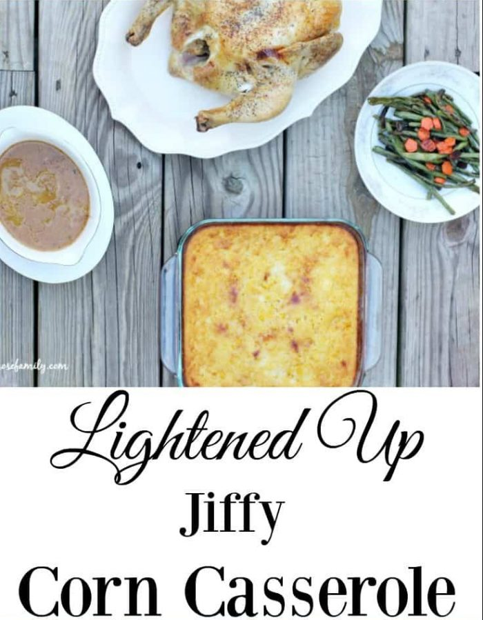 Lightened up Jiffy corn casserole dinner spread