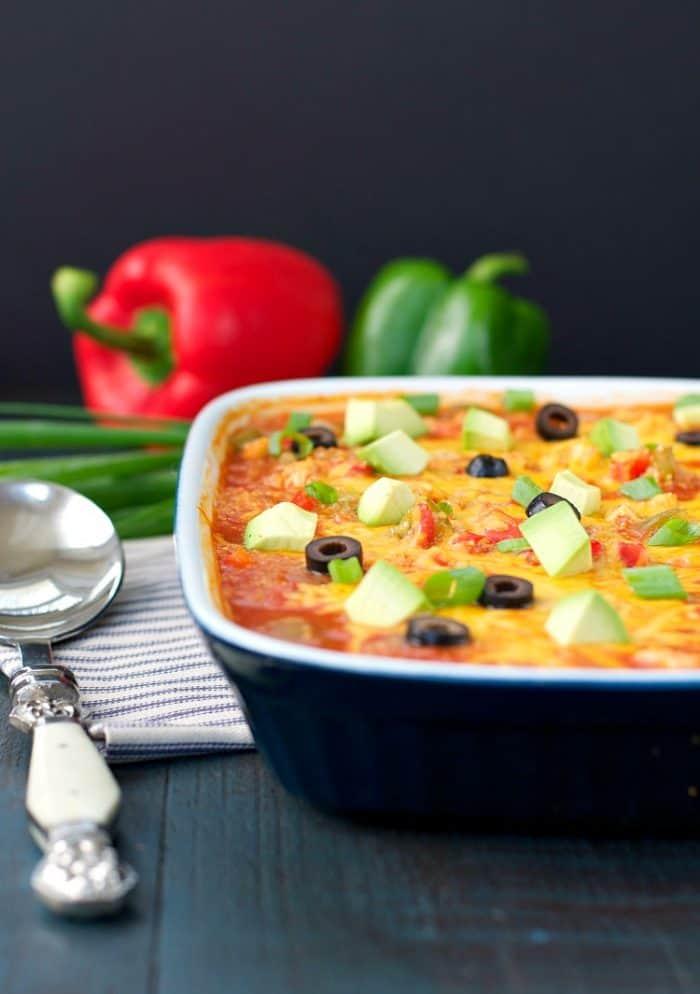 Beautiful and easy Chicken Fajita Quinoa Casserole