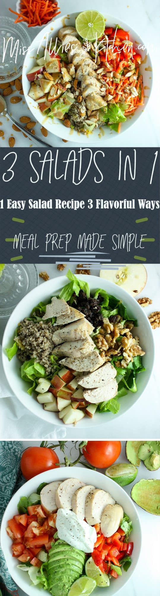 This 1 easy salad 3 flavorful ways makes having a healthy lunch easy!