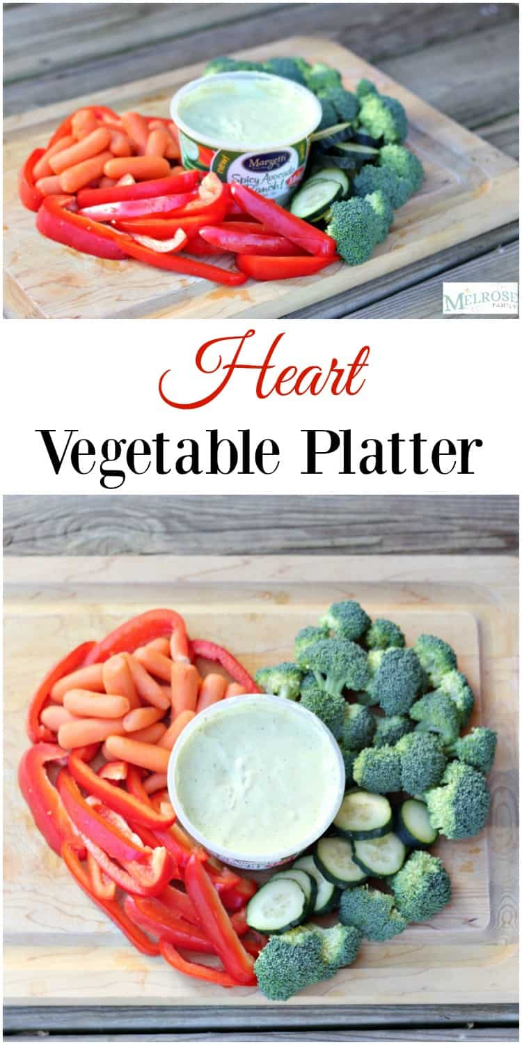 Are you looking for the perfect easy snack idea? Our Heart Vegetable Platter with Marzetti Veggie Dip is the perfect idea! #ad #Marzetti