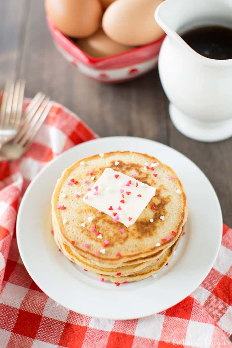 You'll love this recipe for easy Valentine pancakes!