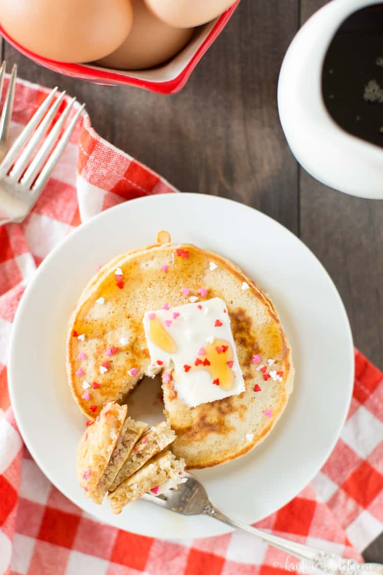 These easy Valentine pancakes are a fun surprise on Valentine's Day!