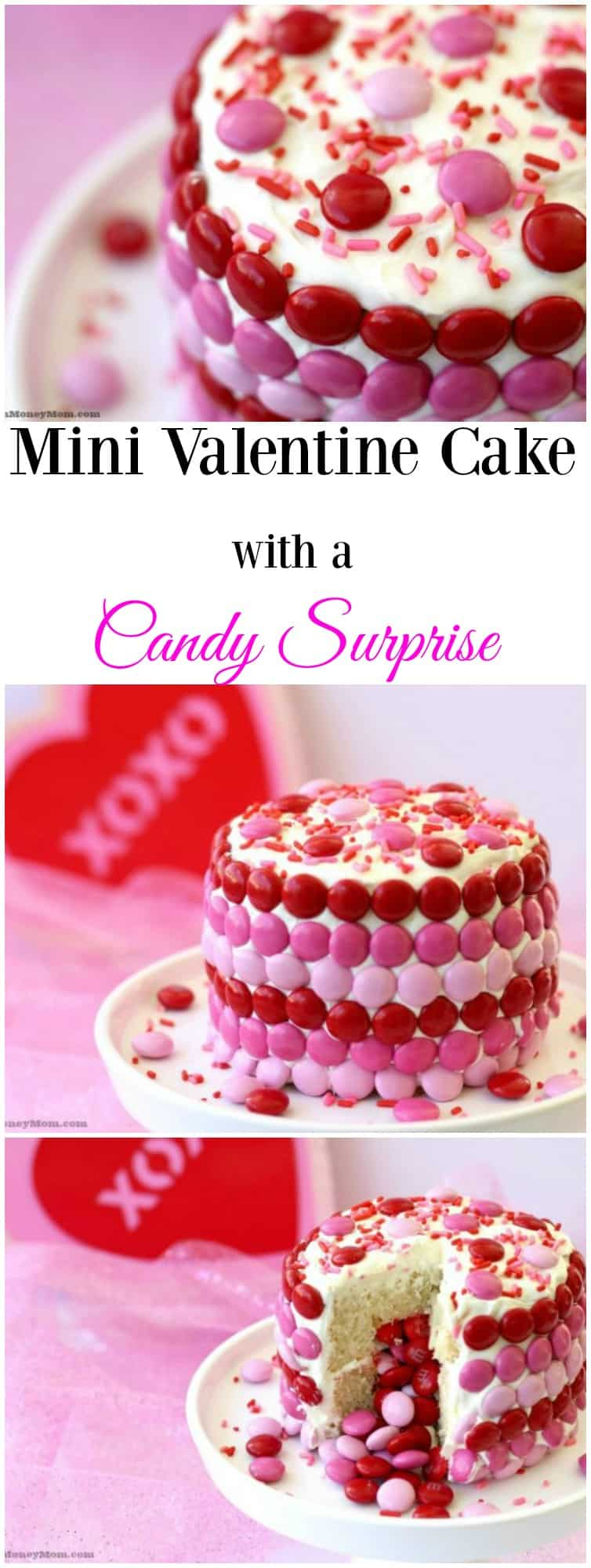 A fun Mini Valentine Cake with a Candy Surprise is the perfect dessert for your Valentine.