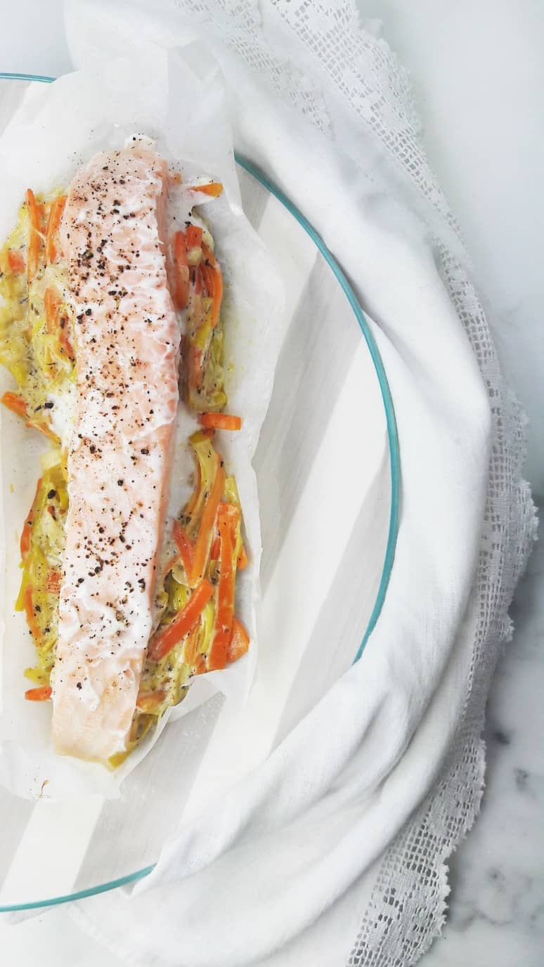 I love this quick and easy salmon baked in parchment paper for dinner!