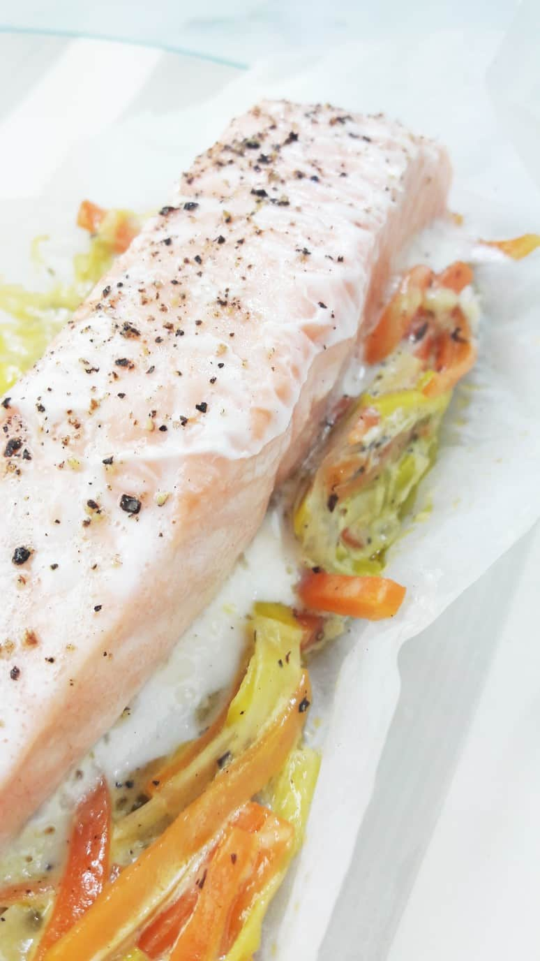 This hearty quick and easy salmon baked in parchment paper is my favorite meal!