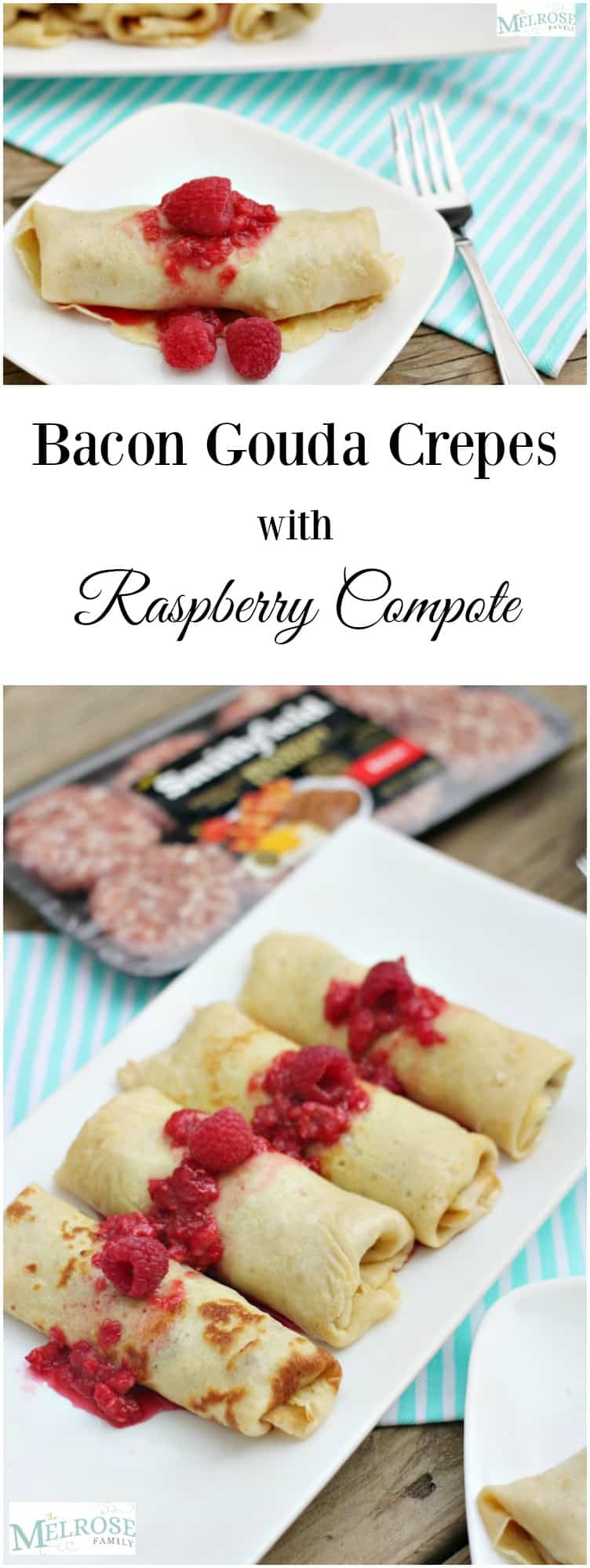 Bacon Gouda Crepes with Raspberry Compote ad SmithfieldBrunch