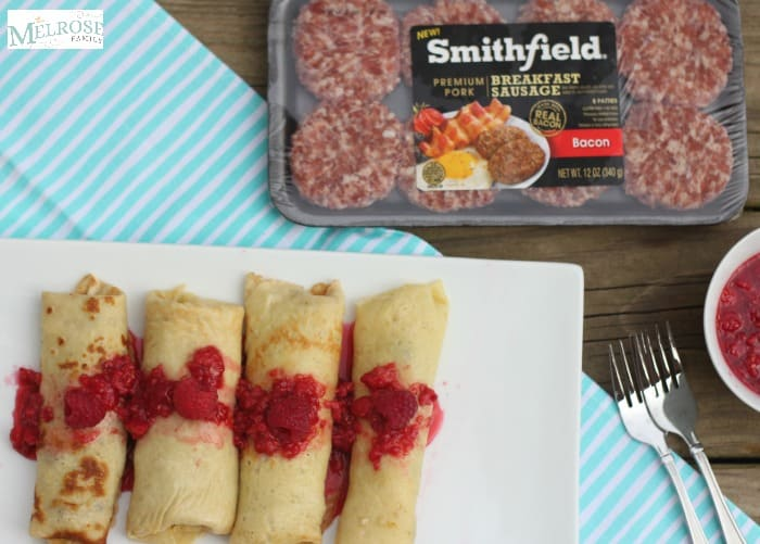 Bacon Gouda Crepes with Raspberry Compote and Smithfield Breakfast Sausage
