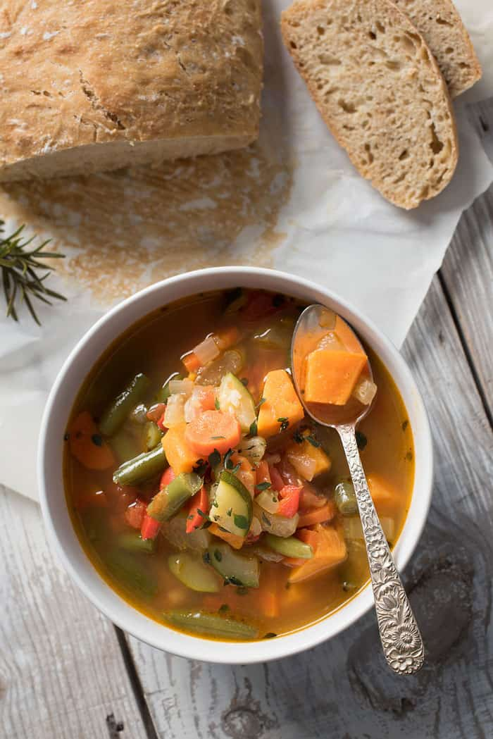 This Spicy Vegetable Soup is perfect on a chilly day! Check out these 8 Mealtime Strategies for Busy Parents along with the recipe!