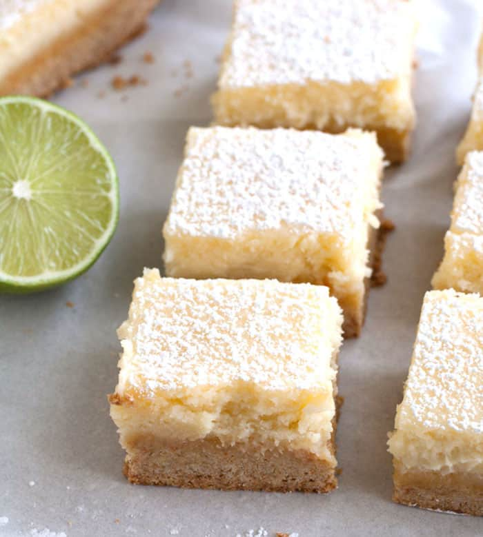 Lime Gooey Cake Bars are perfectly creamy with a hint of lime.
