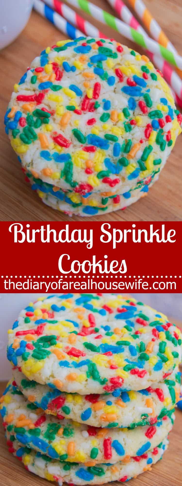 Birthday Sprinkle Cookies perfect for a birthday party