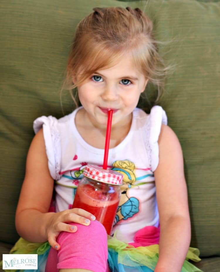 Avery sipping Sugar Free Strawberry Slushie