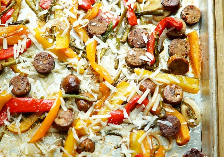 Sheet Pan Sausage & Vegetables with Parmesan