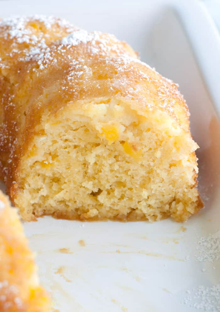 Slice of Peach Bundt Cake
