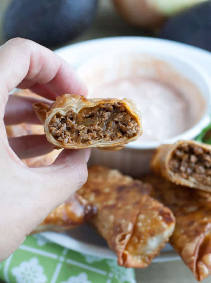 tex mex egg rolls cut