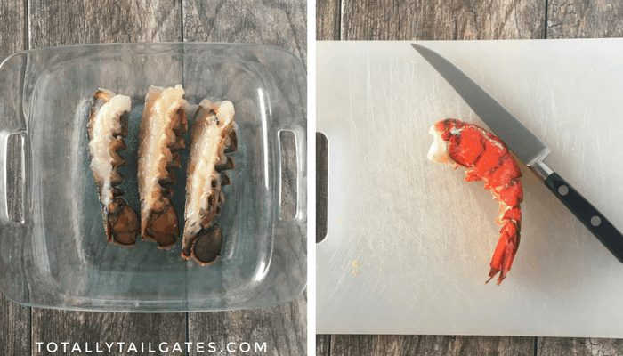 Left picture: lobster tails in a glass baking dish. Right picture: cooked lobster tails on a cutting board with a knife