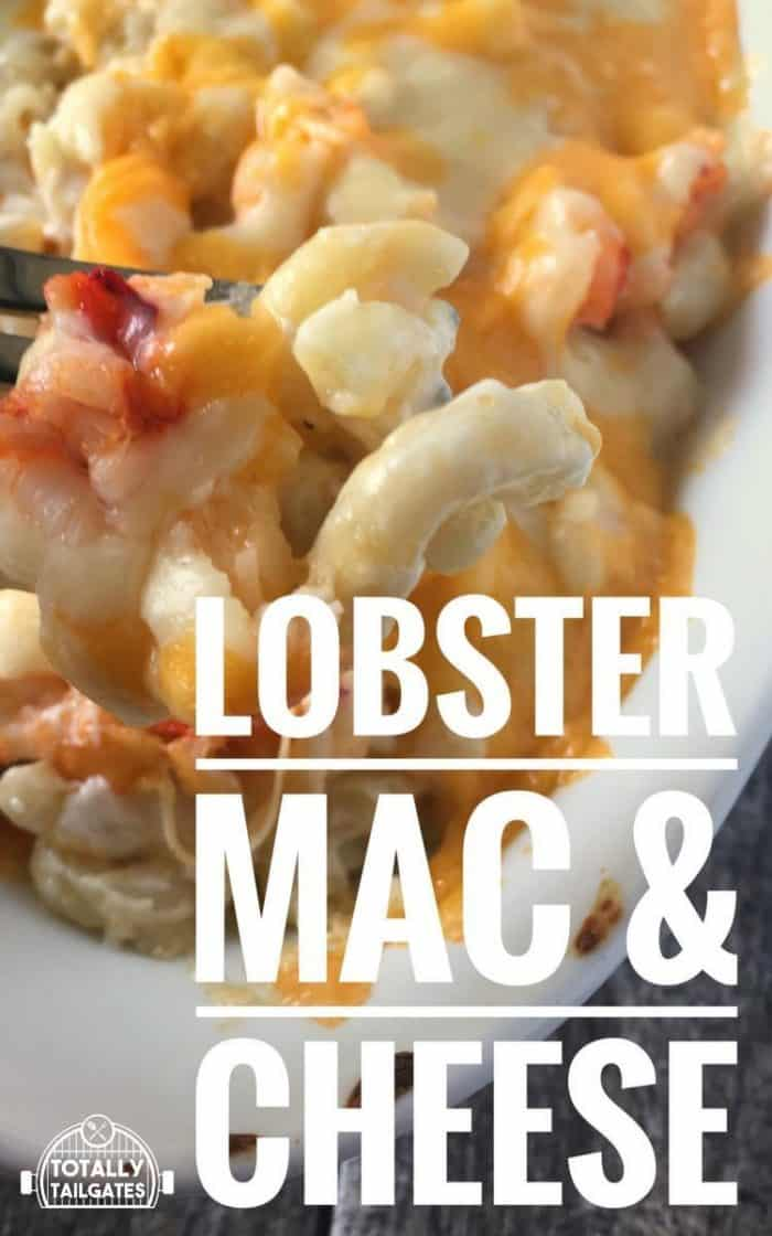 lobster mac and cheese in a white casserole dish with a fork picking up a bite