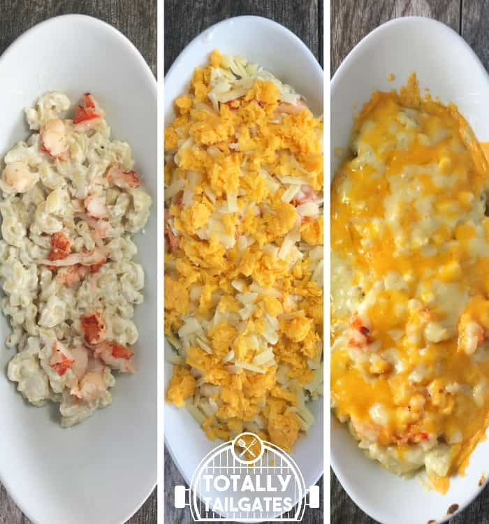 3 pictures of putting lobster mac and cheese together. Left picture: lobster mac and cheese in a white dish. Middle picture: lobster mac and cheese covered with cheese. Right picture: recipe baked