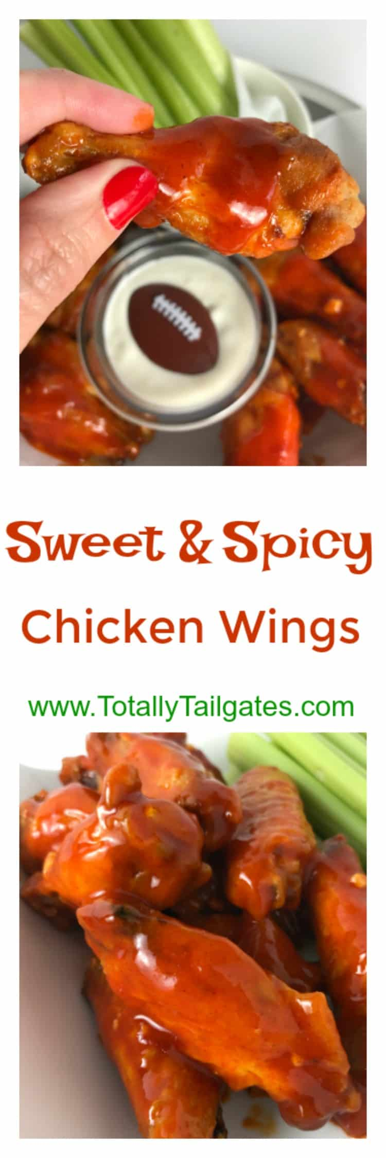 sweet & spicy chicken wings are great for a football party