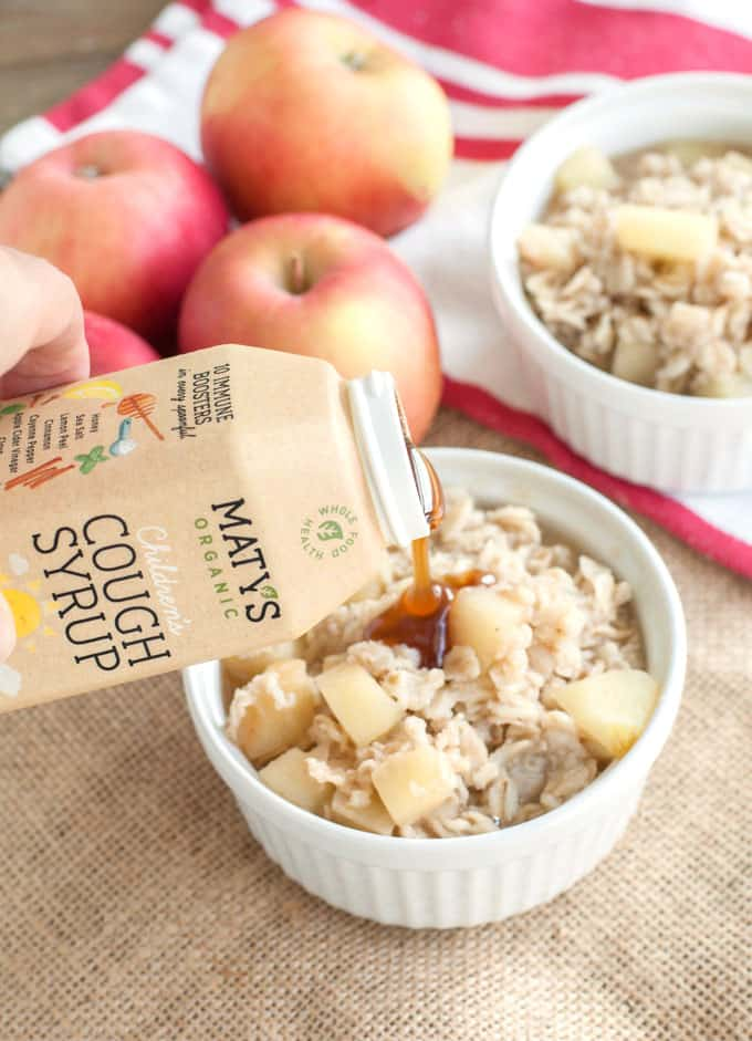 Add Maty's All Natural Cough Syrup to the Apple cinnamon oatmeal ingredients