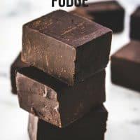 Stacked orange chocolate fudge pieces