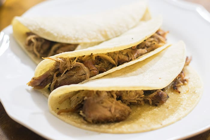 crispy pork carnitas in a tortillas