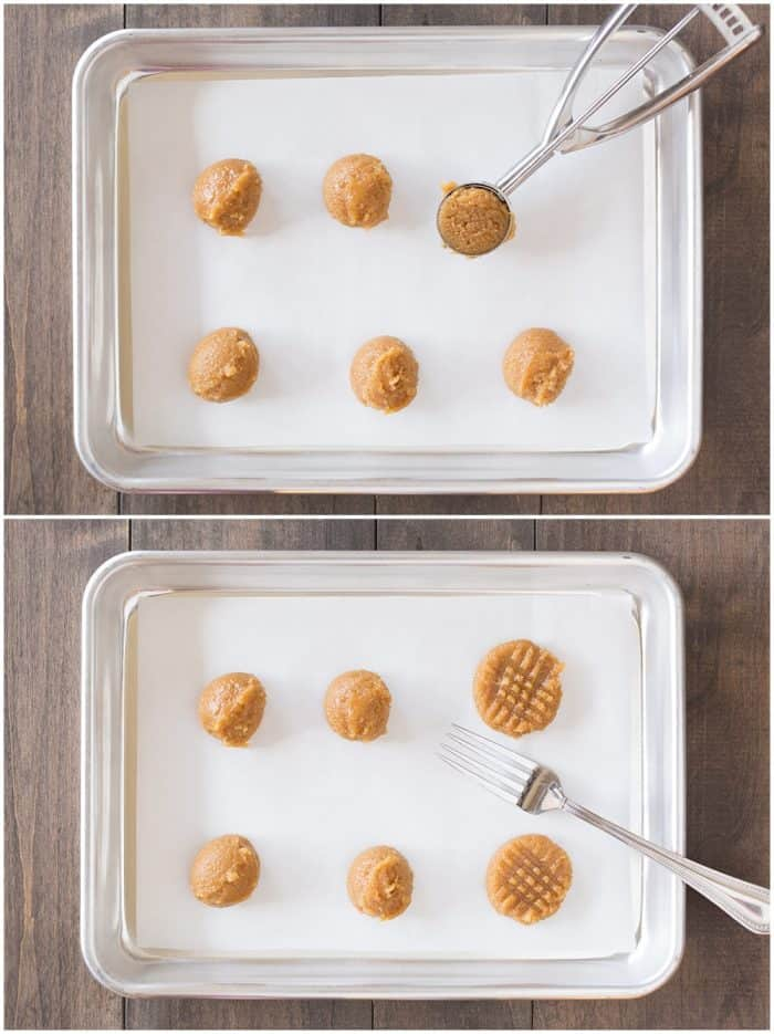 Peanut Butter Cookies Rolled on cookie sheet and then pressed with a fork