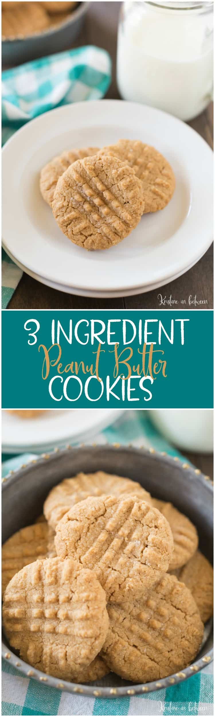 3 Ingredient Peanut Butter Cookies #cookies #peanutbutter #themelrosefamily