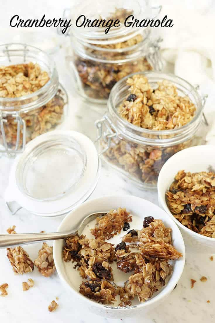 Cranberry orange Granola in Glass Food Storage Jars