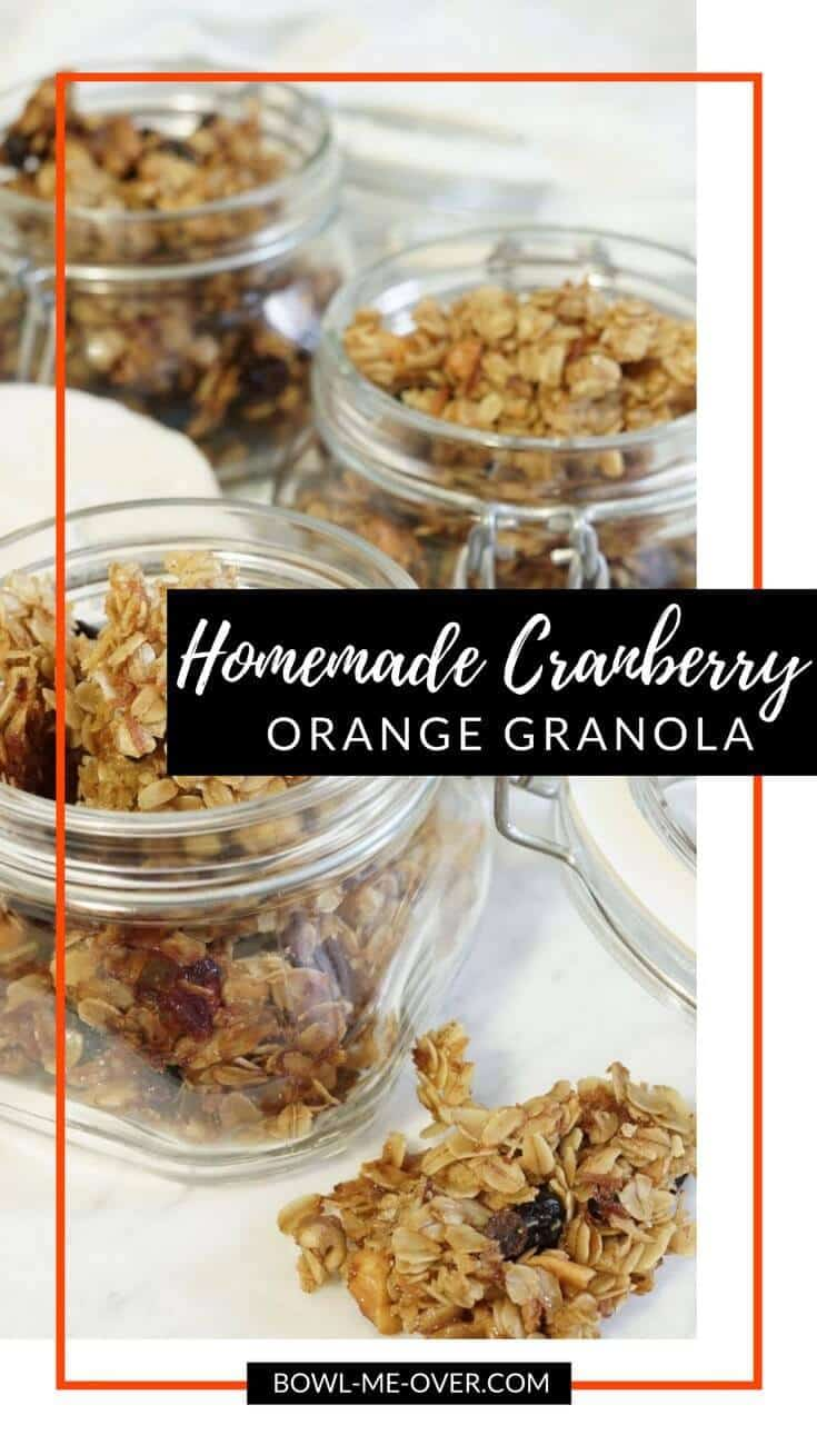 Homemade Cranberry Orange Granola Recipe #granola #themelrosefamily #healthysnack