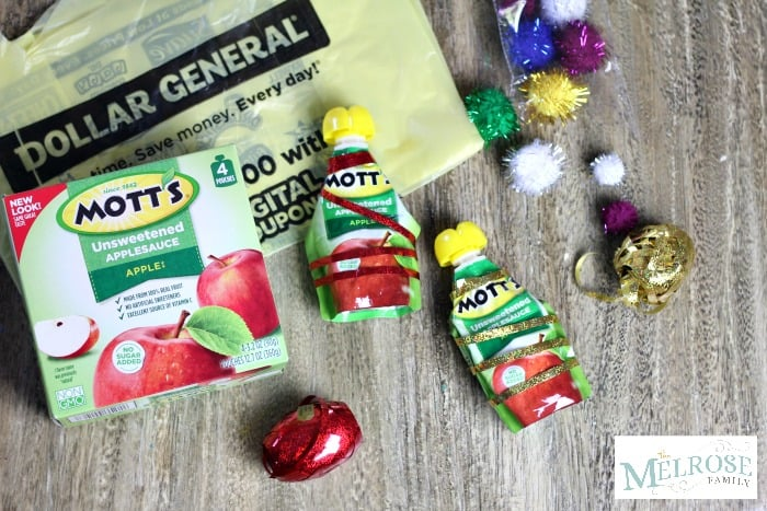 Unsweetened Applesauce and dollar general supplies for Christmas Tree Applesauce Snacks
