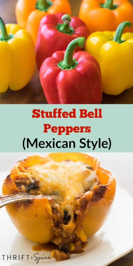 Easy Stuffed Bell Peppers Mexican Style Recipe with bell peppers above it