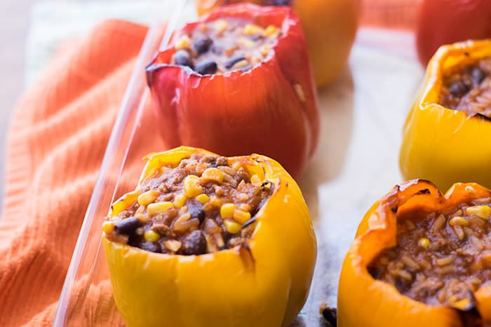 Easy stuffed bell peppers in a baking dish