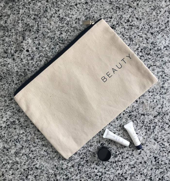 BeautyCounter pouch with samples of Beauty Counter products