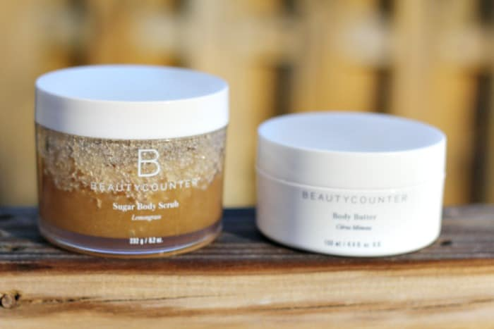 Beauty Counter sugar scrub and beauty counter body butter