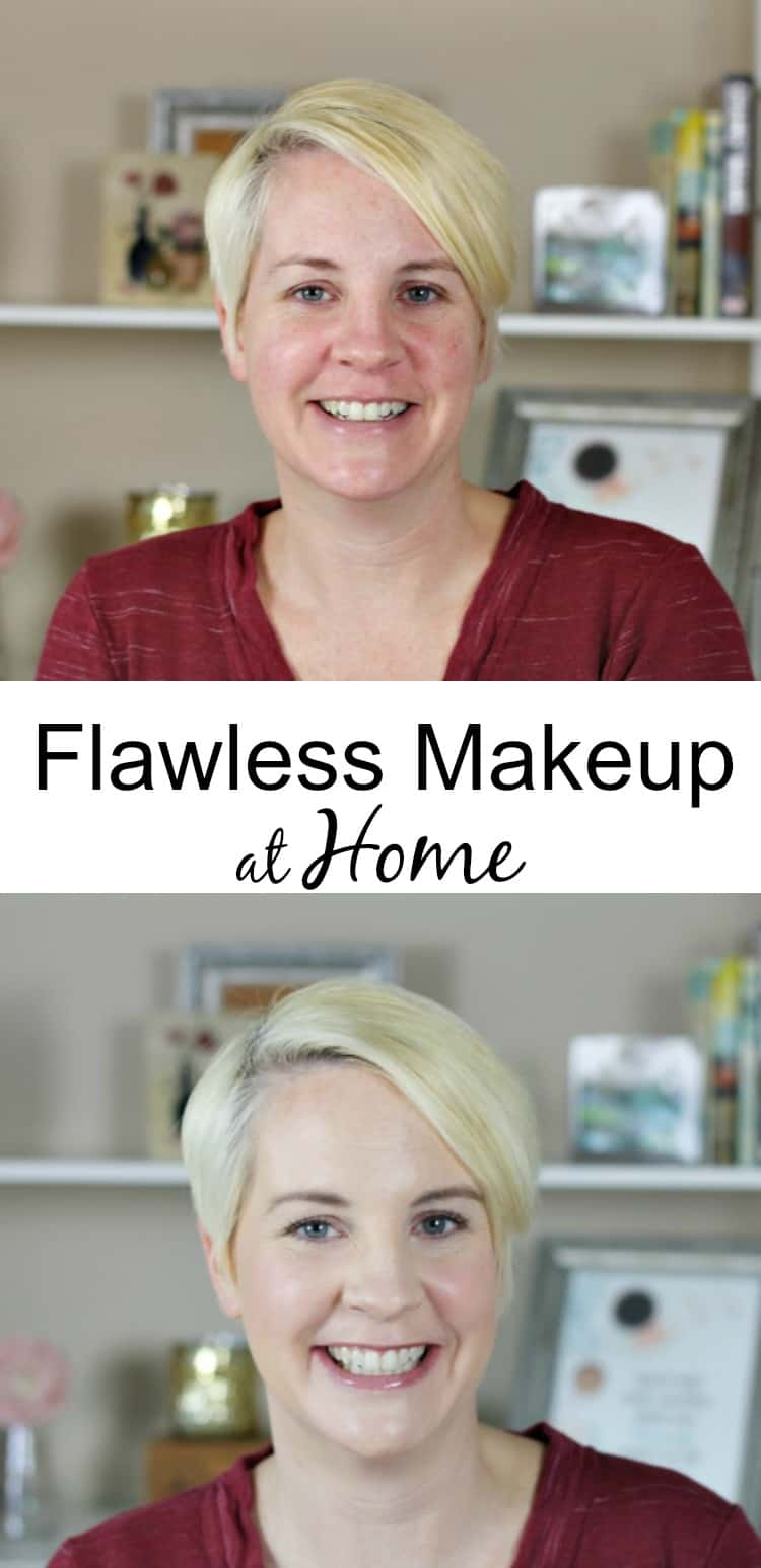 Flawless makeup at home with two pictures of a blonde female without makeup and then an after picture with makeup