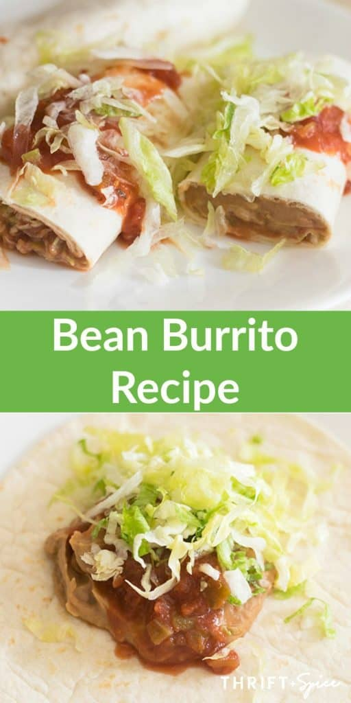 Bean burrito recipe rolled in a tortilla topped with salsa and shredded cheese