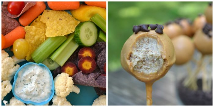 rainbow vegetables with dip and healthy cake pops