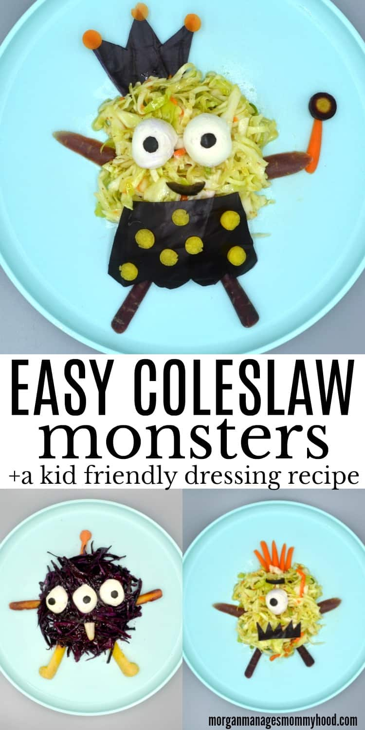 Easy Coleslaw monsters on three different plates using different veggies to make them into different monsters.