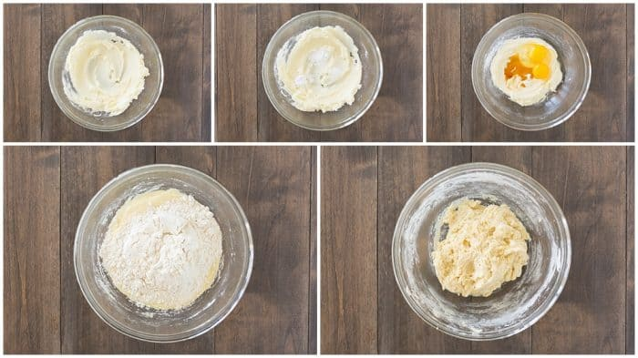 easy snickerdoodle recipe being made step by step in each frame to create the batter for the cookies