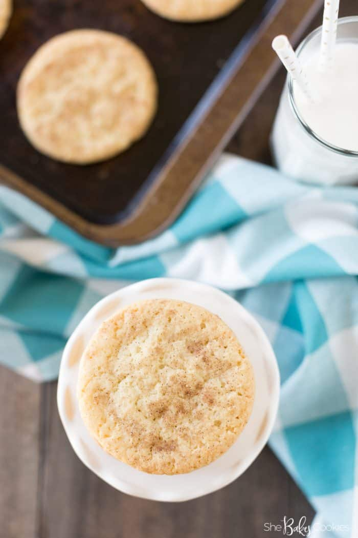 easy snickerdoodle recipe on a white pedestal serving platter with the focus directly down on the cookies