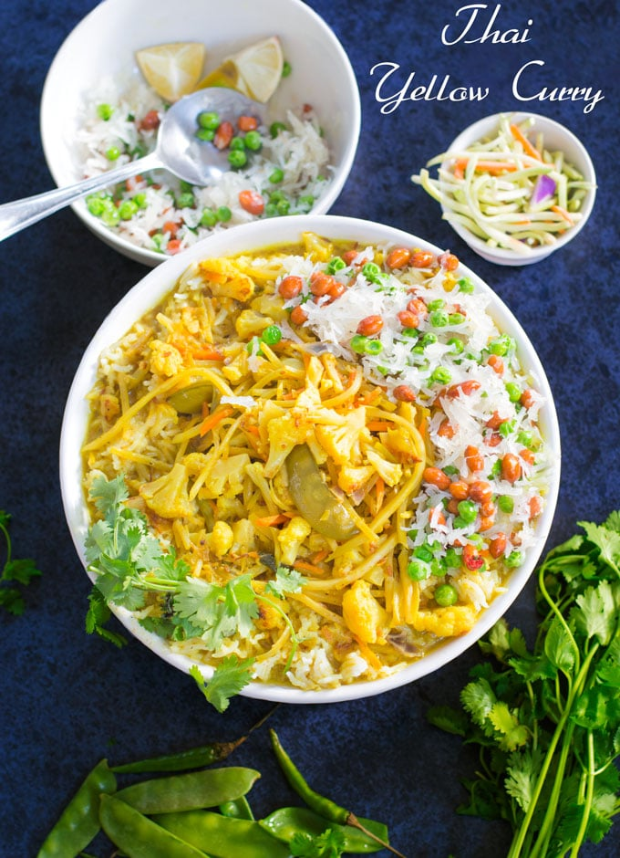 Thai yellow Curry in a large white bowl with vegetables