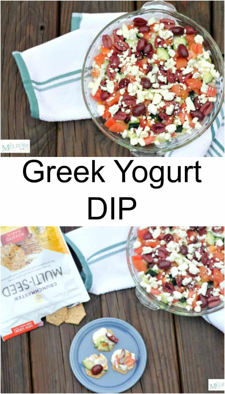 Greek Yogurt Dip with Crunchmaster crackers served in a glass pie plate